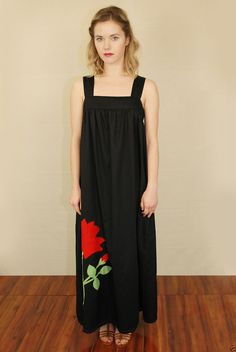 Vtg 70s Blk Gathered Draped Flowy Jumper Hippie Boho Tent Floral Maxi Dress S | eBay
