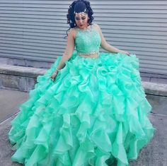 Mint Green Two Piece Quinceanera Dresses 2016 Ruffles Organza Girls Vestidos De 15 Anos Lace Appliques Crystals Sweet 16 Years…