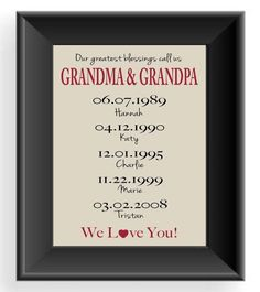 Personalized GRANDPARENTS Gift Print - Gift for Grandma & Grandpa -Christmas Gift - Mother's Day Gift - Important Dates -Other colors on Etsy, $15.00 by hattie