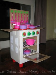 KidKraft Argyle Play Kitchen with Food Set - multicolor Cardboard Kitchen, Cardboard Crafts, Diy Kids Kitchen, Toy Kitchen, Diy For Kids, Crafts For Kids, Diy Karton, Barbie Furniture, Diy Home Crafts