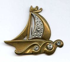 """Vtg 1920s Large Sail Boat Brass & Cut Steel 2.5"""" by 3"""" Brooch Pin #NotSigned"""