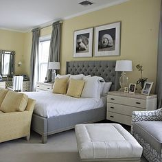 Beautiful gray and yellow bedroom by @libbylangdon