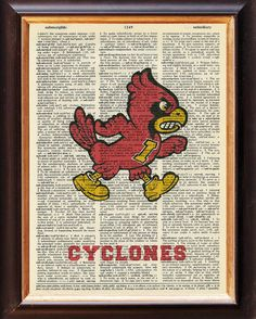 Iowa State - Cyclones - Dictionary Art Print  - Iowa State University - Upcycled Vintage Art - 8 x 11