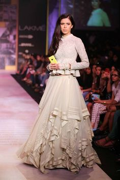 Shantanu  Nikhil Lakme Fashion Week Summer 2014 white ruffled lehnga. More here: http://www.indianweddingsite.com/shantanu-nikhil-lakme-fashion-week-summer-resort-2014/