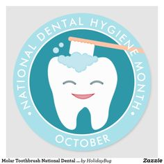 Shop Molar Toothbrush National Dental Hygiene Month Classic Round Sticker created by HolidayBug. Dental Life, Emergency Dentist, Dental Facts, Best Teeth Whitening, Dental Hygiene, Cosmetic Dentistry, Oral Health, Health Care, Round Stickers