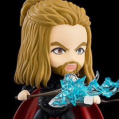 "A DX Nendoroid of Thor from ""Avengers: Endgame""! From ""Avengers: Endgame"" comes a fully articulated Nendoroid of Thor! Thor has been carefully recreated right down to the different colors of his eyes. He comes with Mjolnir, Stormbreaker and. Chibi Marvel, Marvel Cartoons, Avengers Wallpaper, Cute Toys, His Eyes, Thor, Captain America, Different Colors, Iron Man"