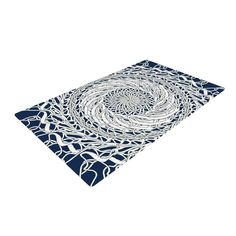 "Patternmuse ""Mandala Spin Navy"" Blue White Woven Area Rug - KESS InHouse"