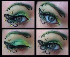 Trucco da farfalla nei toni del giallo e del verde