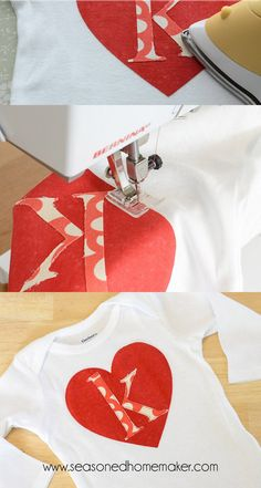 How to Monogram a Onesie - Learn how to applique with this monogram craft idea for Valentine's Day.