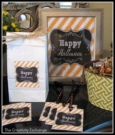 Use these fun free printable Halloween tags & labels for kid's treat/favor bags.  I have also included a large Happy Halloween sign that you can slide into an 8 x 10' frame for a Halloween party or to place on a mantel, entry table or somewhere fun.