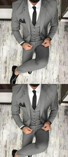 83997154c gray suit men Prom Suit Outfits, Wedding Outfits For Men, Prom Suits For Men