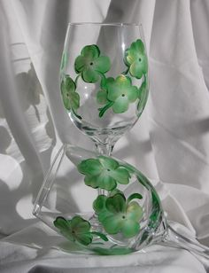 Hand painted wine glasses - 4 leaf clovers - for your Irish friends!