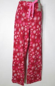 New Womens Charter Club Pajama Pants Red Snowflake Snowflurries Cotton Knit…