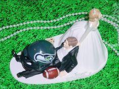Seattle Seahawks Football Fun Grooms Wedding Cake Topper- NFL Bride Groom Sports Fan-1