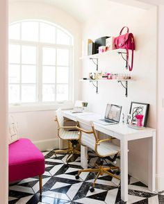 See How Rachel Parcell's 'Pink Peonies' Brand Inspired One Dreamy Office | Glitter Guide