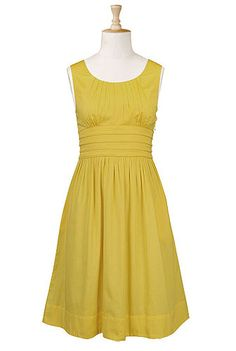 Ever since I saw the hippie chick on Mad Men wearing the mustard yellow dress and blue sweater I have been trying to recreate it.  It is so hard to find a cute dress in the right color!  Pleat waist poplin dress