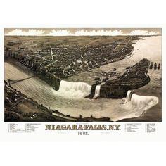Vintage Map of Niagara Falls New York 1882 Niagara County Canvas Art - (24 x 36)