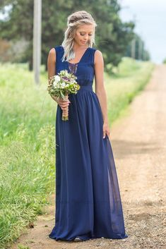 Long Sheer Lace Detail Navy Bridesmaid Dress for Country Wedding