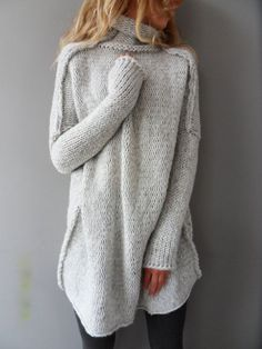 Oversized, Chunky knit woman sweater.