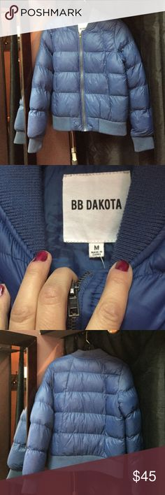 BB Dakota puffer bomber jacket BB Dakota nylon and polyester filled puffer bomber jacket. Gorgeous blue. Lightweight but super warm. Two hidden zip pockets. Like new condition. Worn only a handful of times BB Dakota Jackets & Coats Puffers