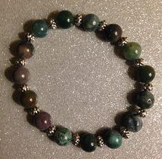 Fancy Jasper Beads w/Silver Spacers