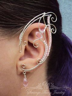 Pair of ear cuffs Pink Waterfall by StrangeThingJewelry on Etsy