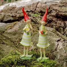 A Pair Of Standing Strawberry Pixie Garden Ornaments In Coloured Resin Fairy Garden Ornaments, Gnome Ornaments, Christmas Ornaments, Snails In Garden, Gnome Garden, Fairy Doors, Rock Design, Mosaic Wall, Fairy Land