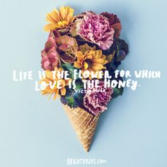 """""""Life is the flower for which love is the honey."""" ~ Victor Hugo"""