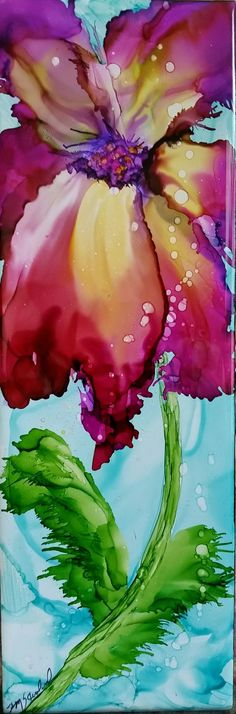 Ideas For Flowers Art Painting Alcohol Inks Alcohol Ink Tiles, Alcohol Ink Crafts, Alcohol Ink Painting, Watercolor Flowers, Painting Flowers, Arte Floral, Gravure, Painting & Drawing, Flower Art