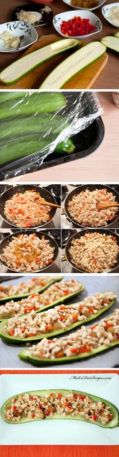 Ingredients (for 4 people): • 4 zucchini • a tablespoon of olive oil • a red or yellow bell pepper, seeded, finely diced • half of an onion, chopped • 2 cloves garlic, finely chopped • 500 g lean meat (pork, turkey or chicken) • 150 g golden raisins • half a teaspoon of salt • a quarter teaspoon of pepper