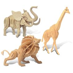 Bring majestic jungle animals into your home with this fun 3-D puzzle set. Take turns constructing a wooden lion, elephant, and giraffe using finely crafted puzzle pieces numbered for coordinated cons