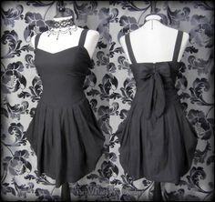 Goth Black Tulip Puffball Bodice Dress 10 Victorian Steampunk Rockabilly Pin Up | THE WILTED ROSE GARDEN