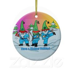 Christmas Martial Arts Elves Ornament  With http://www.zazzle.com/creativeworlds?rf=238274821096031189