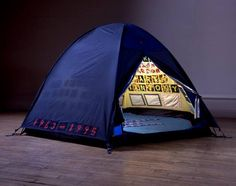 Tracey Emin, British Artist  'Everyone I Have Ever Slept With 1963–1995′ otherwise known as 'The Tent' .Quite frequently the tent's meaning is misconstrued to a sexual interpretation, when the piece is about intimacy.