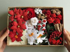 Large Christmas DIY Gift Set - Assorted Paper flowers, mini cards & gift wrapping supplies. ---  You will get • 120+ Assorted red, white and brown paper flowers with wire stems • 120 paper leaves • 21 paper poinsettias • 20 mini blank cards and envelopes • 10 mini faux present boxes • mini ribbon bows • and many more!