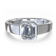 Emerald Cut Bezel Set Diamond Engagement Ring in 14k White Gold
