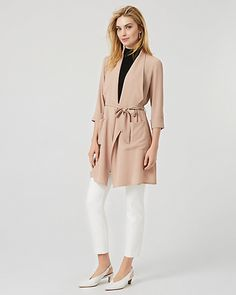 Pebbled Crêpe de Chine Shawl Collar Duster Cardigan - A loosely structured silhouette lends a relaxed look to this cool-girl duster styled with a flattering tie-waist and a draped shawl collar. Cardigan Fashion, Roll Up Sleeves, Cool Girl, Collars, Shawl, Duster Coat, Spring, Jackets, Style
