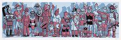 """Serigrafía """"The Royal Canadian Super-Legion"""", de Seth. Vidas de papel edita, por primera vez en España, una carpeta de serigrafía del autor canadiense Seth. Se trata de un dibujo realizado por Seth para la portada del número 84 de la revista canadiense CNQ (Canadian Notes & Queries). La carpeta, titulada """"The Royal Canadian Super-Legion"""", está compuesta por 1 serigrafía a 5 tintas, de 70x24 cm. sobre papel Conqueror Connoisseur 300 grs. Es una edición de 150 ejemplares firmados y numerados…"""