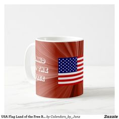 USA Flag Land of the Free Red Coffee Mug by Janz