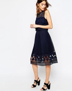 Image 1 of Warehouse Floral Mesh Lace Full Midi Skirt