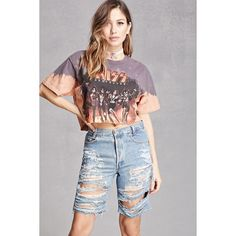 Forever21 Repurposed Levis Distressed Shorts ($58) ❤ liked on Polyvore featuring shorts, light denim, denim shorts, destroyed bermuda shorts, distressed bermuda shorts, forever 21 shorts and distressed denim shorts