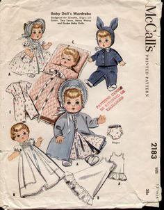 McCalls 2183 Vintage 1950s Ginette, Tiny Tears Doll Wardrobe Pattern
