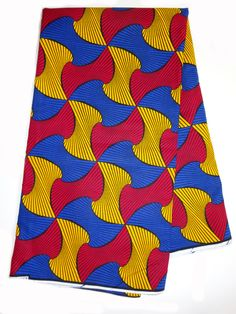 Blue, red and yellow African Textile by the Yard, African Fabric Shop, African Designs, African Supplies, African Fabrics, Wax print, cotton by Shopafrican on Etsy