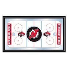Trademark Global NHL New Jersey Devils Framed Hockey Rink Mirror - NHL1500-NJD
