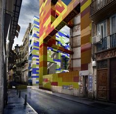 Spanish designers of Espai MGR took to the streets of Valencia, putting fantastic and colorful LEGO creations in various vacant lots, attracting us to (a lack of) things we would normally pass as pedestrians or drivers, unawares due to sheer familiarity.