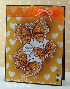 Pretty orangy butterflies using stamps from Outlines Rubber Stamps