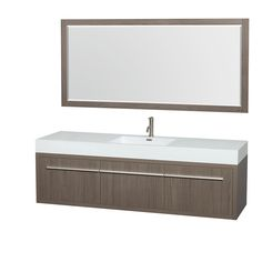 Wyndham Collection Axa 72 inch Single Bathroom Vanity in Grey Oak, Acrylic-Resin Countertop, Integrated Sink, and 70 inch Mirror