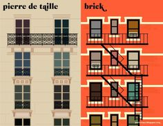 Comparações minimalistas entre Paris e Nova York (série assinada por Vahram Muratyan)