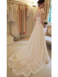 Long Chapel Train Floor-length Lace Wedding Dresses Real Made On Sale (WD0091) #weddingdresses #simibridal #lace