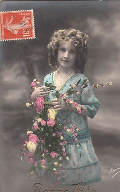 Vintage French Romantic Children postcard . by ParisBookandPaper